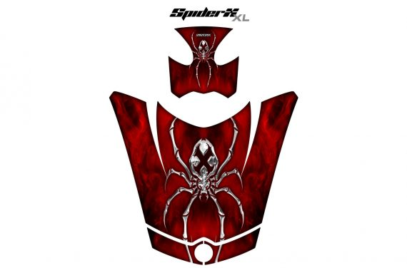 Can Am Spyder RS GS Hood Graphics Kit SpiderX XL Red1 570x376 - Can-Am Spyder RS GS ST Hood and Rear Fender Graphics