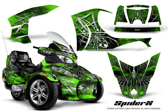 Can Am Spyder RT S Full Trim SpiderX Green 570x376 - Can-Am Spyder RTS 2010-2013 Graphics with Trim Kit