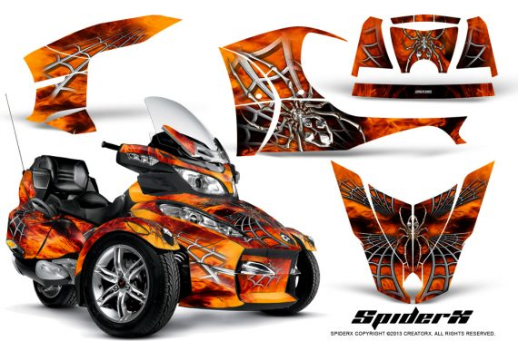 Can Am Spyder RT S Full Trim SpiderX Orange 570x376 - Can-Am Spyder RTS 2010-2013 Graphics with Trim Kit