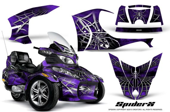 Can Am Spyder RT S Full Trim SpiderX Purple 570x376 - Can-Am Spyder RTS 2010-2013 Graphics with Trim Kit