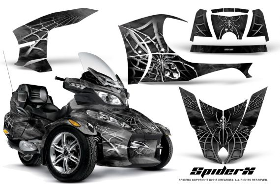 Can Am Spyder RT S Full Trim SpiderX Silver 570x376 - Can-Am Spyder RTS 2010-2013 Graphics with Trim Kit