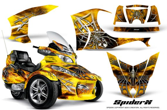 Can Am Spyder RT S Full Trim SpiderX Yellow 570x376 - Can-Am Spyder RTS 2010-2013 Graphics with Trim Kit