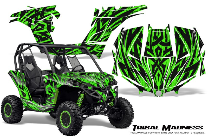 Can-am-Maverick-CreatorX-Graphics-Kit-Tribal-Madness-Green