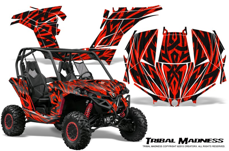 Can-am-Maverick-CreatorX-Graphics-Kit-Tribal-Madness-Red