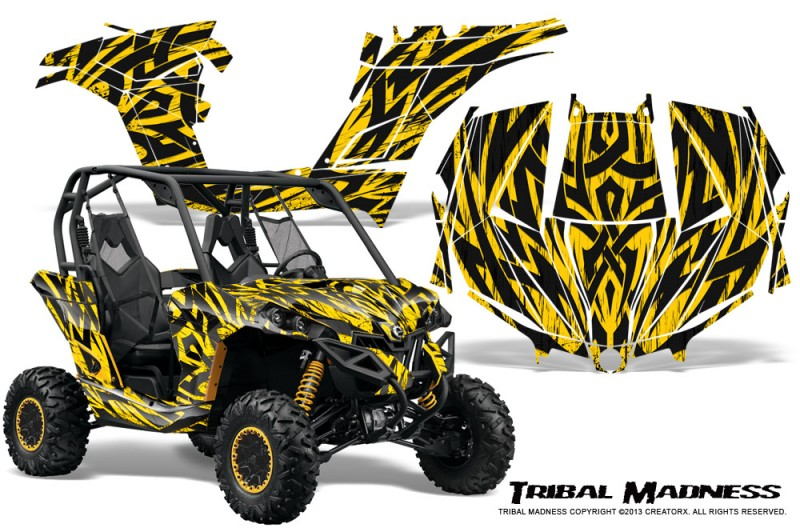 Can-am-Maverick-CreatorX-Graphics-Kit-Tribal-Madness-Yellow