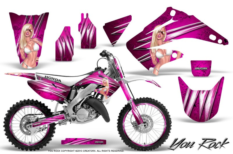 Honda-CR125-CR250-02-10-CreatorX-Graphics-Kit-You-Rock-Pink-NP-Rims