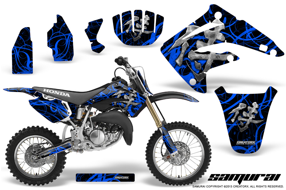 Honda-CR85-03-07-CreatorX-Graphics-Kit-Samurai-Blue-Black-NP