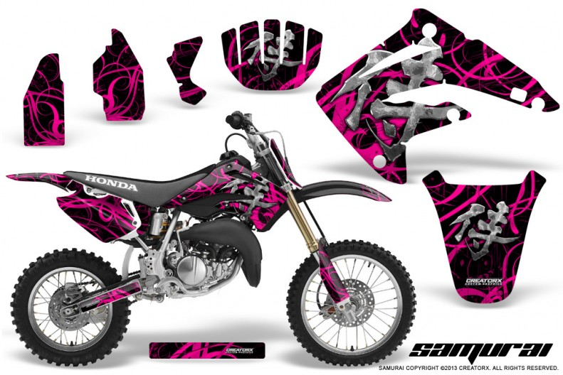 Honda-CR85-03-07-CreatorX-Graphics-Kit-Samurai-Pink-Black-NP