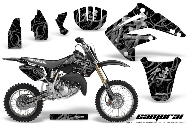 Honda-CR85-03-07-CreatorX-Graphics-Kit-Samurai-Silver-Black-NP