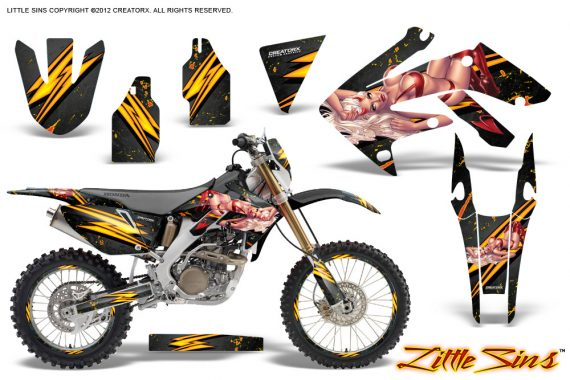 Honda CRF 250X 04 12 CreatorX Graphics Kit Little Sins Black NP Rims 570x380 - Honda CRF250X 2004-2018 Graphics