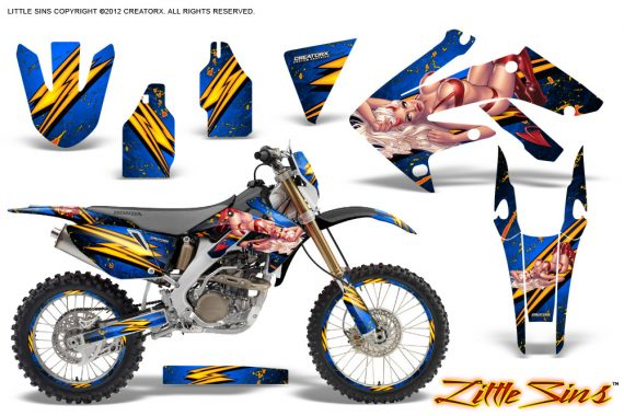Honda CRF 250X 04 12 CreatorX Graphics Kit Little Sins Blue NP Rims 570x380 - Honda CRF250X 2004-2018 Graphics