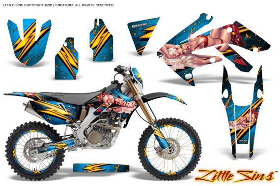 Honda CRF 250X 04 12 CreatorX Graphics Kit Little Sins BlueIce NP Rims 570x380 - Honda CRF250X 2004-2018 Graphics