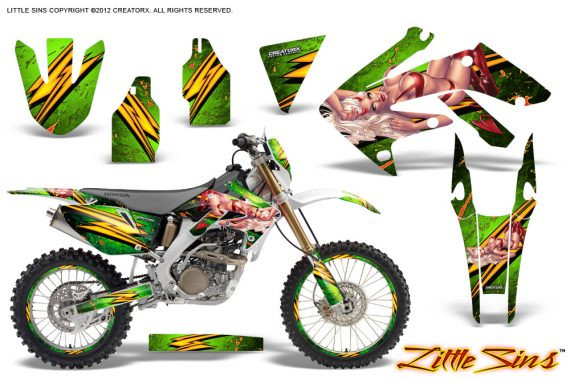 Honda CRF 250X 04 12 CreatorX Graphics Kit Little Sins Green NP Rims 570x380 - Honda CRF250X 2004-2018 Graphics