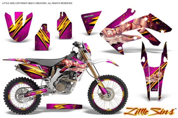 Honda CRF 250X 04 12 CreatorX Graphics Kit Little Sins Pink NP Rims 570x380 - Honda CRF250X 2004-2018 Graphics