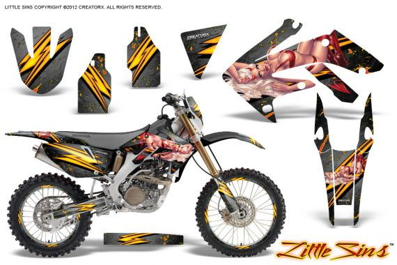 Honda CRF 250X 04 12 CreatorX Graphics Kit Little Sins Silver NP Rims 570x380 - Honda CRF250X 2004-2018 Graphics