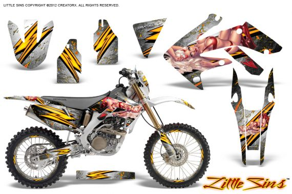 Honda CRF 250X 04 12 CreatorX Graphics Kit Little Sins White NP Rims 570x380 - Honda CRF250X 2004-2018 Graphics