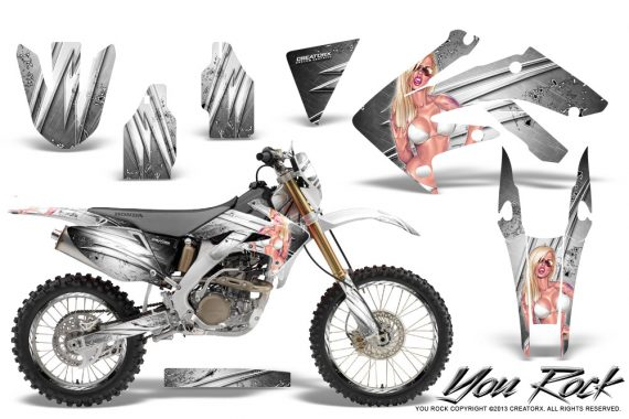 Honda CRF 250X 04 12 CreatorX Graphics Kit You Rock White NP Rims 570x380 - Honda CRF250X 2004-2018 Graphics