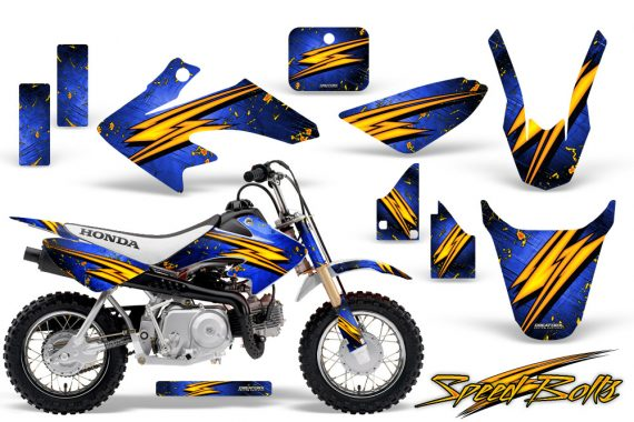 Honda CRF 50 CreatorX Graphics Kit Speed Bolts Blue 570x380 - Honda CRF50 2004-2015 Graphics