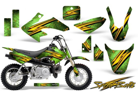Honda CRF 50 CreatorX Graphics Kit Speed Bolts Green 570x380 - Honda CRF50 2004-2015 Graphics
