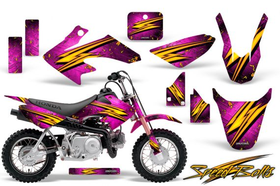 Honda CRF 50 CreatorX Graphics Kit Speed Bolts Pink 570x380 - Honda CRF50 2004-2015 Graphics