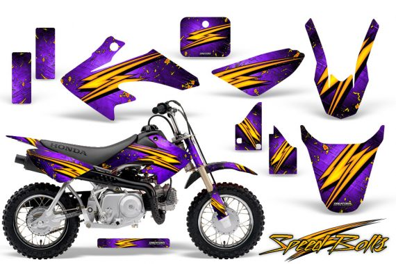 Honda CRF 50 CreatorX Graphics Kit Speed Bolts Purple 570x380 - Honda CRF50 2004-2015 Graphics