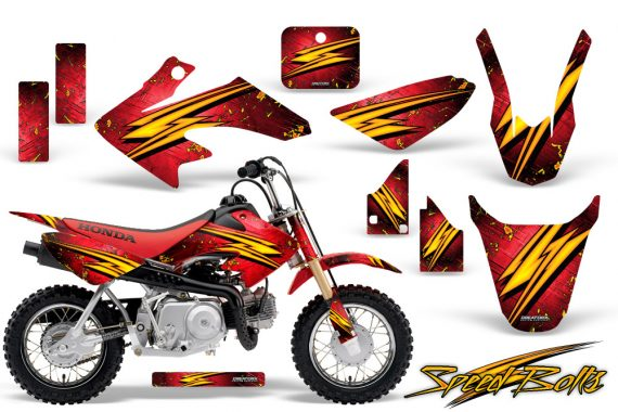 Honda CRF 50 CreatorX Graphics Kit Speed Bolts Red 570x380 - Honda CRF50 2004-2015 Graphics