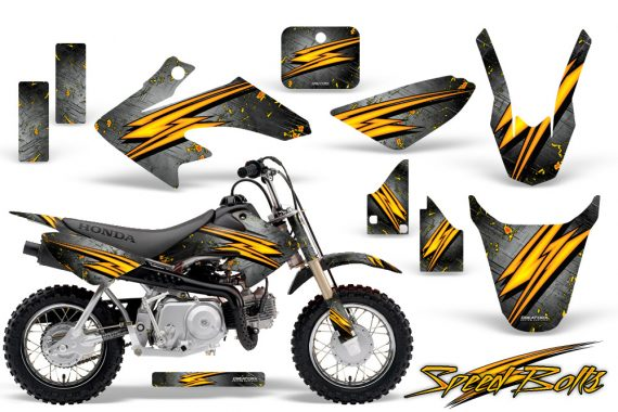 Honda CRF 50 CreatorX Graphics Kit Speed Bolts Silver 570x380 - Honda CRF50 2004-2015 Graphics