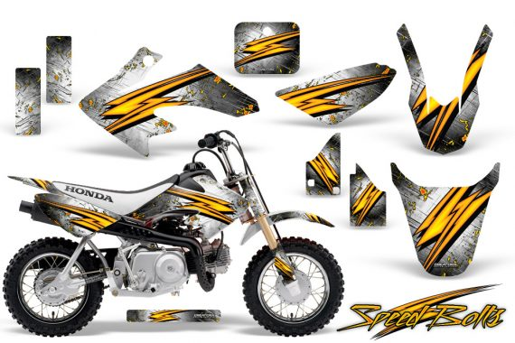 Honda CRF 50 CreatorX Graphics Kit Speed Bolts White 570x380 - Honda CRF50 2004-2015 Graphics