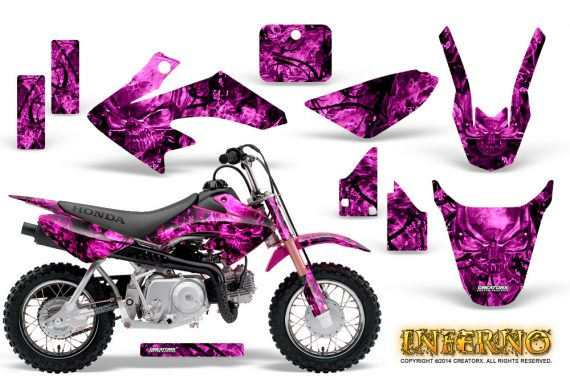 Honda CRF 50 Graphics Kit Inferno Pink 570x380 - Honda CRF50 2004-2015 Graphics