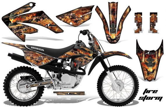 Honda CRF 80 100 2011 AMR Graphics Kit Black Firestorm 570x376 - Honda CRF80 CRF100 2011-2015 Graphics