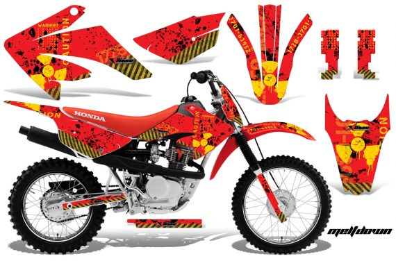 Honda CRF 80 100 2011 AMR Graphics Kit Meltdown RedBG CK 570x376 - Honda CRF80 CRF100 2011-2015 Graphics