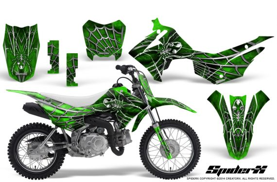 Honda CRF110F CreatorX Graphics Kit SpiderX Green 570x376 - Honda CRF 110F 2013-2018 Graphics