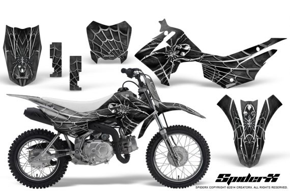 Honda CRF110F CreatorX Graphics Kit SpiderX Silver 570x376 - Honda CRF 110F 2013-2018 Graphics