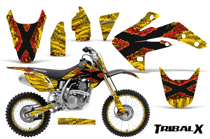 Honda-CRF150R-07-10-CreatorX-Graphics-Kit-TribalX-Red-Yellow-NP-Rims