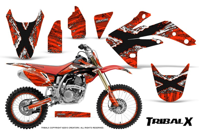Honda-CRF150R-07-10-CreatorX-Graphics-Kit-TribalX-White-Red-NP-Rims