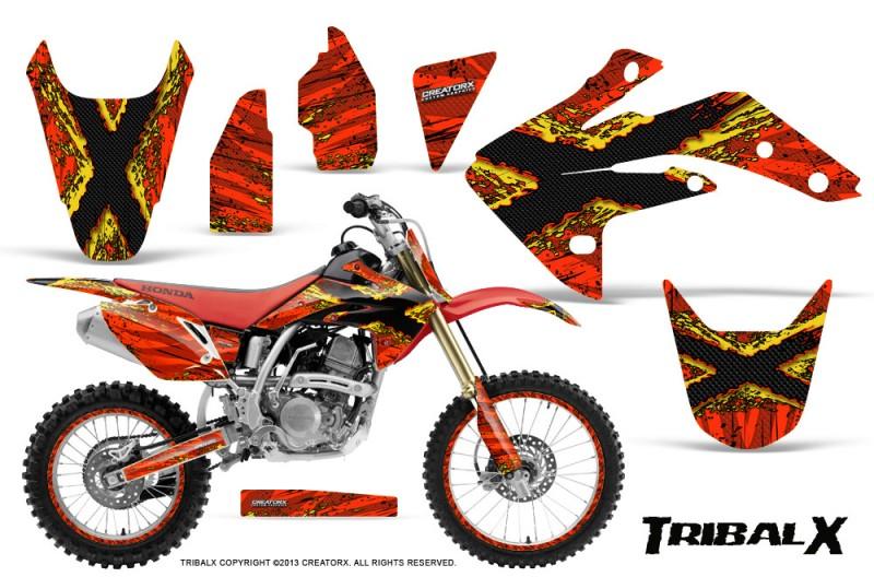 Honda-CRF150R-07-10-CreatorX-Graphics-Kit-TribalX-Yellow-Red-NP-Rims