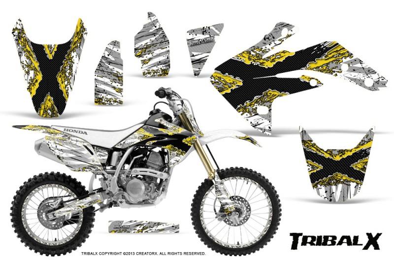 Honda-CRF150R-07-10-CreatorX-Graphics-Kit-TribalX-Yellow-White-NP-Rims