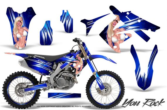 Honda CRF250 10 12 CRF450 09 12 CreatorX Graphics Kit You Rock Blue NP Rims 570x376 - Honda CRF250R 2004-2013 Graphics
