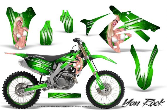 Honda CRF250 10 12 CRF450 09 12 CreatorX Graphics Kit You Rock Green NP Rims 570x376 - Honda CRF250R 2004-2013 Graphics