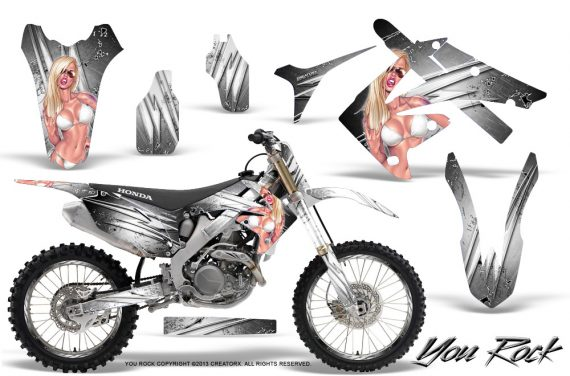 Honda CRF250 10 12 CRF450 09 12 CreatorX Graphics Kit You Rock White NP Rims 570x376 - Honda CRF250R 2004-2013 Graphics