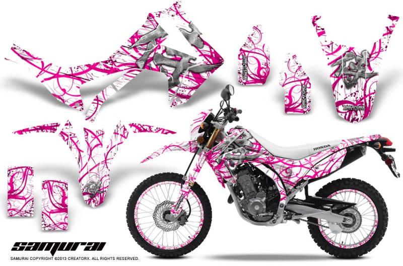 Honda-CRF250L-2013-CreatorX-Graphics-Kit-Samurai-Pink-White-NP-Rims