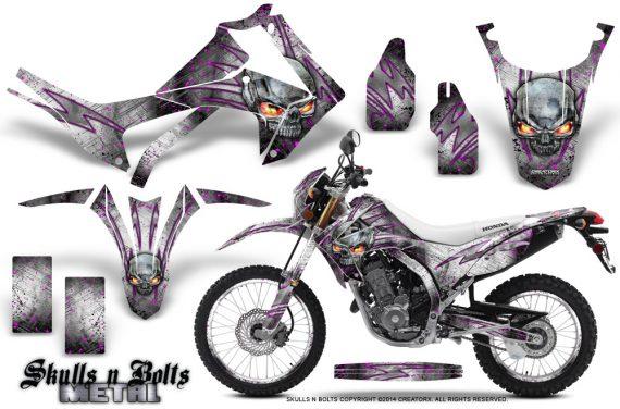 Honda-CRF250L-2013-Graphics-Kit-Skulls-n-Bolts-Metal-Pink-White-NP-Rims