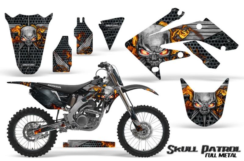 Honda-CRF250R-04-09-CreatorX-Graphics-Kit-Skull-Patrol-Silver-Black-NP-Rims