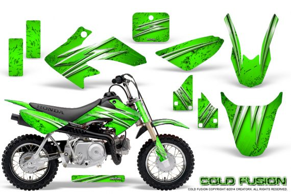 Honda CRF50 CreatorX Graphics Kit Cold Fusion Green 570x380 - Honda CRF50 2004-2015 Graphics
