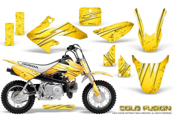 Honda CRF50 CreatorX Graphics Kit Cold Fusion Yellow 570x380 - Honda CRF50 2004-2015 Graphics