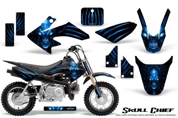Honda CRF50 CreatorX Graphics Kit Skull Chief Blue 570x380 - Honda CRF50 2004-2015 Graphics