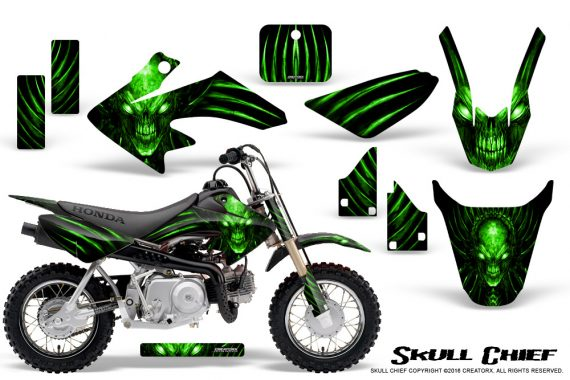 Honda CRF50 CreatorX Graphics Kit Skull Chief Green 570x380 - Honda CRF50 2004-2015 Graphics