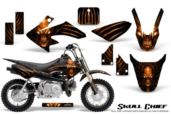 Honda CRF50 CreatorX Graphics Kit Skull Chief Orange 570x380 - Honda CRF50 2004-2015 Graphics