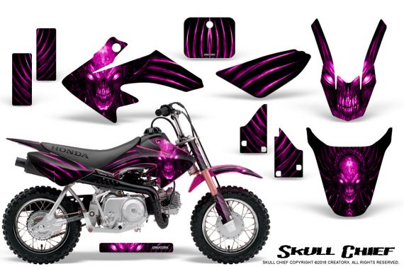 Honda CRF50 CreatorX Graphics Kit Skull Chief Pink 570x380 - Honda CRF50 2004-2015 Graphics