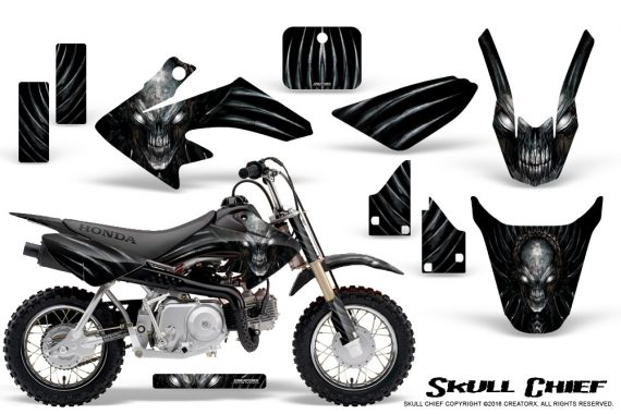 Honda CRF50 CreatorX Graphics Kit Skull Chief Silver 570x380 - Honda CRF50 2004-2015 Graphics
